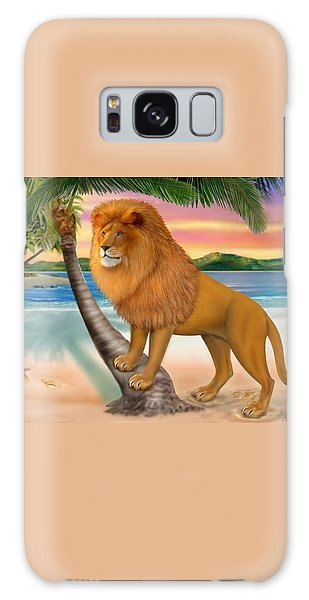 Lion On The Beach Galaxy Case by Glenn Holbrook