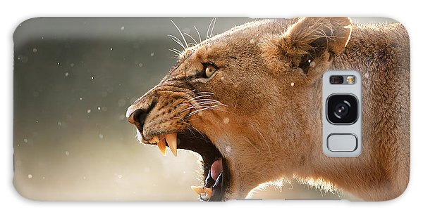 Lioness Displaying Dangerous Teeth In A Rainstorm Galaxy Case