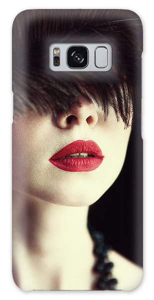 Feathers Galaxy Case - Lips And Feather by Magdalena Russocka