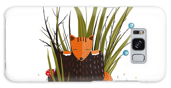 Environments Galaxy Case - Little Fox Sitting In Forest Behind The by Popmarleo