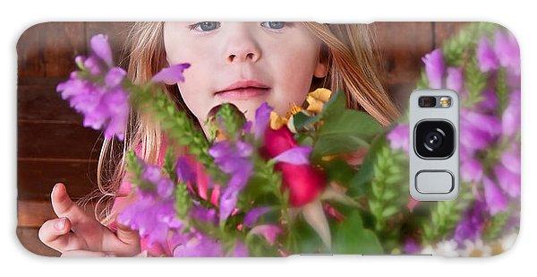 Little Girl Flower Arranging Galaxy Case
