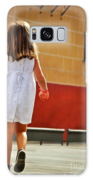 Little Girl In White Dress Galaxy Case by Mary Machare