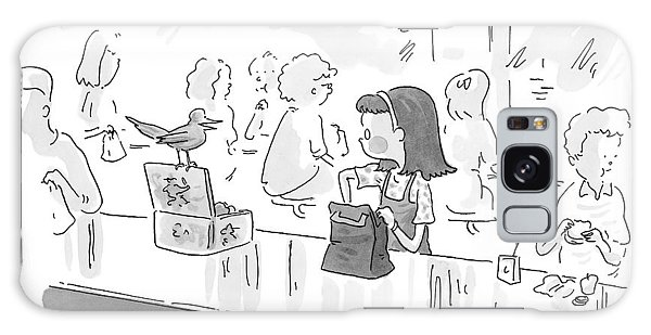 Little Girl With Paper Lunch Bag Talks To Bird Galaxy Case