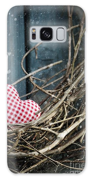 Galaxy Case featuring the photograph Little Heart On Christmas Wreath by Sandra Cunningham