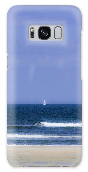 Little Sailboat On Calm Sea Galaxy Case by Karen Stephenson