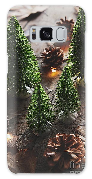 Galaxy Case featuring the photograph Little Trees With Pine Cones And Leaves  by Sandra Cunningham