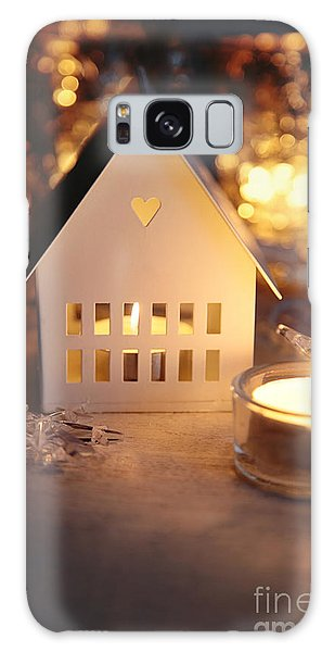 Galaxy Case featuring the photograph Little White House Lit With Candle For The Holidays by Sandra Cunningham