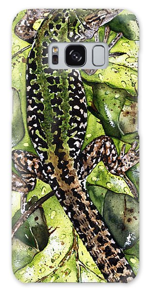 Lizard In Green Nature - Elena Yakubovich Galaxy Case by Elena Yakubovich