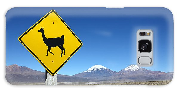 Llamas Crossing Sign Galaxy Case by James Brunker