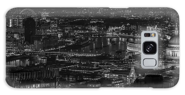 London City At Night Black And White Galaxy Case
