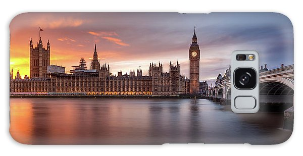 Houses Of Parliament Galaxy Case - London Palace Of Westminster Sunset by Merakiphotographer