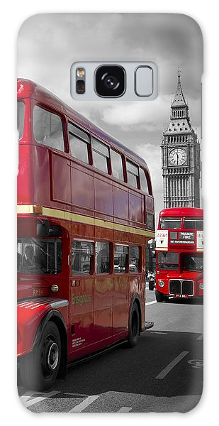 London Red Buses On Westminster Bridge Galaxy Case