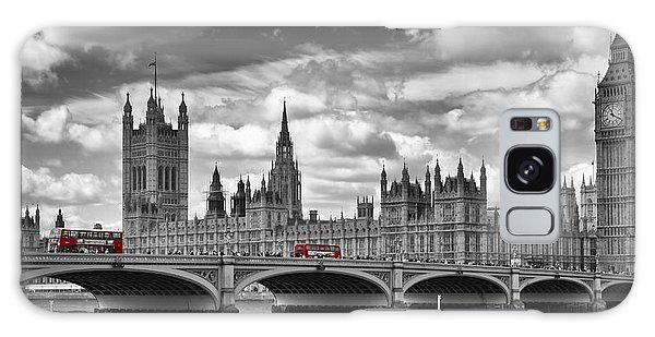 Houses Of Parliament Galaxy Case - London River Thames And Red Buses On Westminster Bridge by Melanie Viola