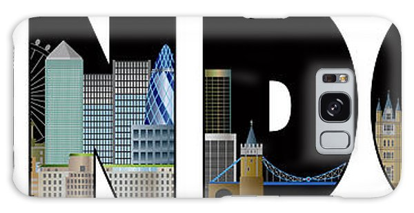 London Skyline Text Outline Color Illustration Galaxy Case