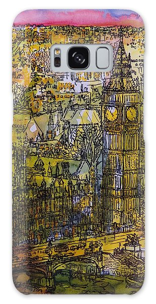 Houses Of Parliament Galaxy Case - London, Westminster Pen & Ink With Wc On Paper by Brenda Brin Booker