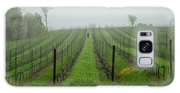Lone Figure In Vineyard In The Rain On The Mission Peninsula Michigan Galaxy Case by Mary Lee Dereske