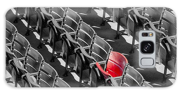 Galaxy Case featuring the photograph Lone Red Number 21 Fenway Park Bw by Susan Candelario