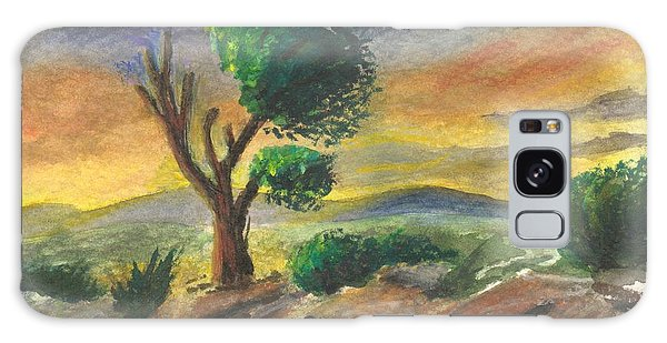 Lone Tree At Sunset Galaxy Case by Sherril Porter