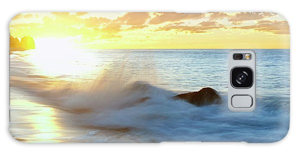 Breaking Dawn Galaxy Case - Lonely Fisherman On Beach At Sunrise by Panoramic Images