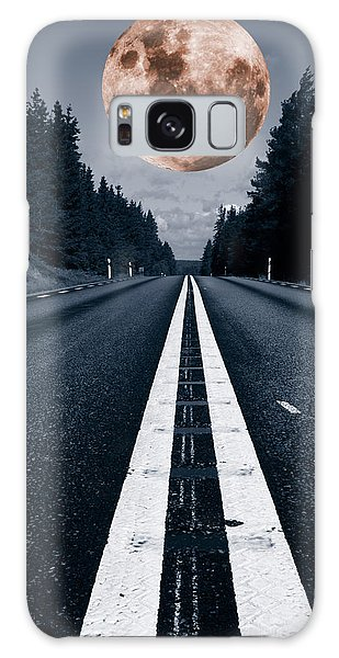 Lonely Road And Full Moon Galaxy Case by Christian Lagereek