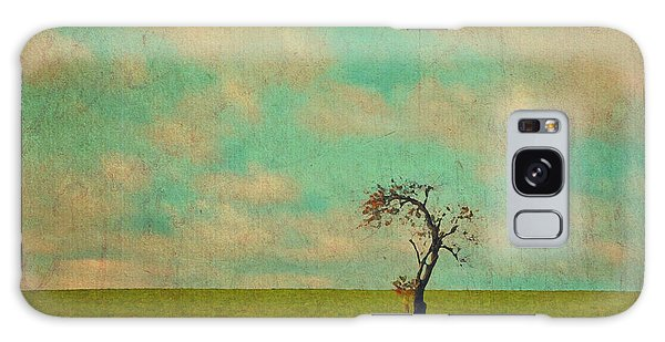 Lonesome Tree In Lime And Orange Field And Aqua Sky Galaxy Case