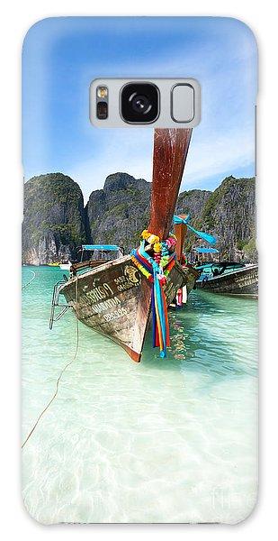 Phi Phi Island Galaxy Case - Long Tail Boats At Maya Beach - Ko Phi Phi - Thailand by Matteo Colombo