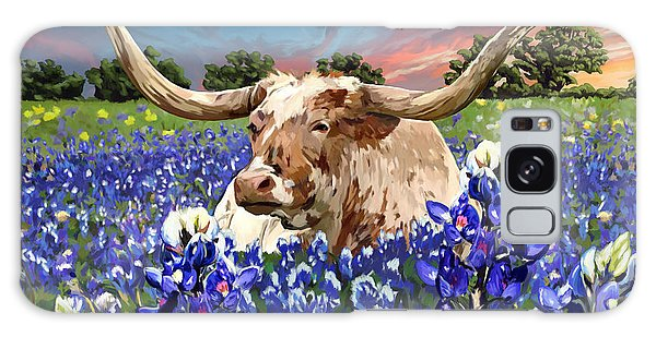 Longhorn In Bluebonnets Galaxy Case by Tim Gilliland