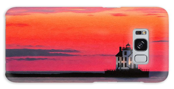 Lorain Lighthouse At Sunset Galaxy Case