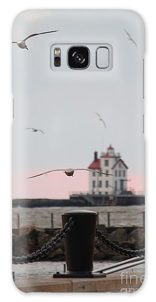 Lorain Lighthouse With Gulls Galaxy Case