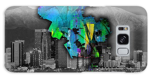Los Angeles Map And Skyline Watercolor Galaxy Case by Marvin Blaine