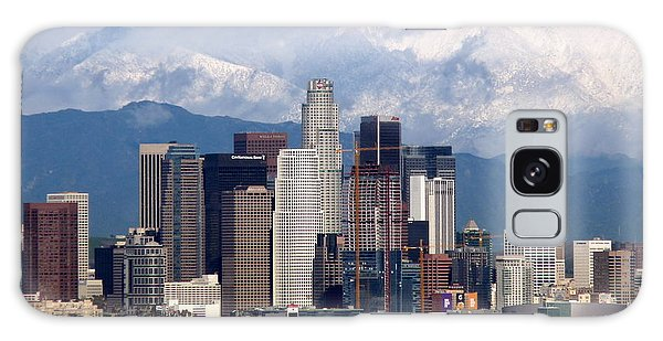 Los Angeles Skyline With Snowy Mountains Galaxy Case