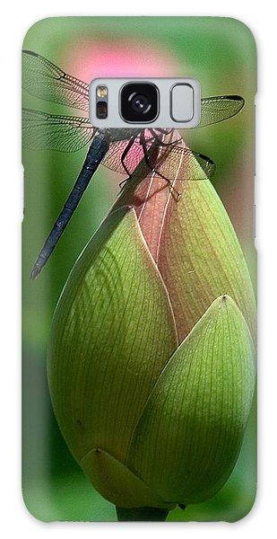 Lotus Bud And Slatey Skimmer Dragonfly Dl006 Galaxy Case by Gerry Gantt