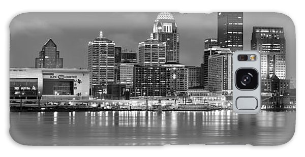 Louisville Skyline At Dusk Sunset Bw Black And White Panorama Kentucky Galaxy Case by Jon Holiday