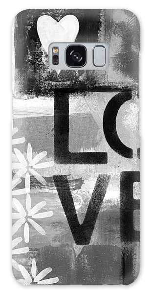 Black And White Art Galaxy Case - Love- Abstract Painting by Linda Woods