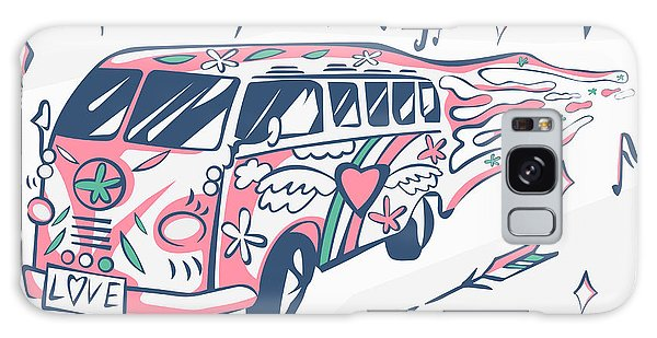 Bright Sun Galaxy Case - Love Bus Vector Poster. Hippie Car by Inamel