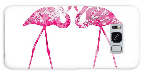 Love Flamingos Galaxy Case by Watercolor Girl