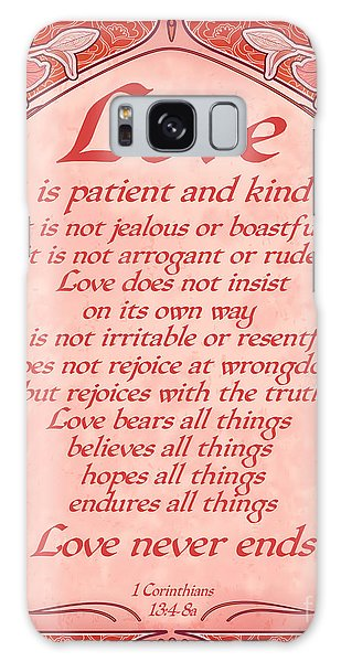 Love Is Patient - Red Art Nouveau Style Galaxy Case
