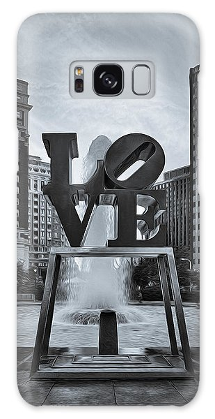 Galaxy Case featuring the photograph Love Park Bw by Susan Candelario