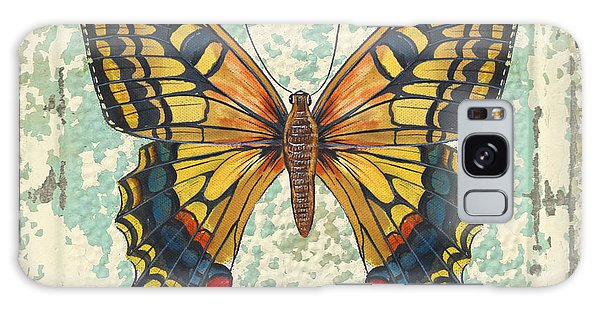 Lovely Yellow Butterfly On Tin Tile Galaxy Case by Jean Plout