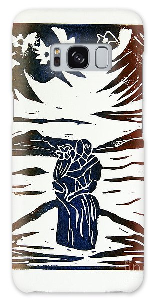 Lovers - Lino Cut A La Gauguin Galaxy Case by Christiane Schulze Art And Photography