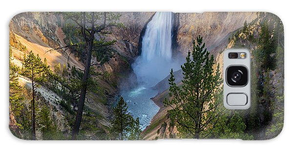 Lower Falls At Yellowstone River Galaxy Case