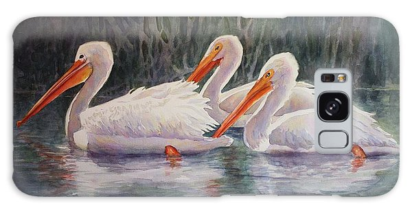 Luminous White Pelicans Galaxy Case by Roxanne Tobaison