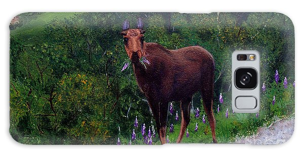 Lupine Loving Moose Galaxy Case by Barbara Griffin