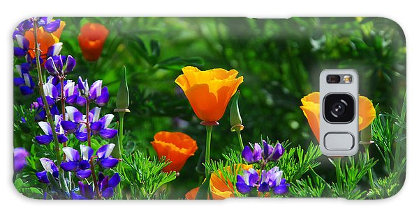 Lupines And Poppies Galaxy Case
