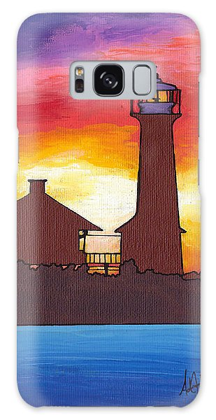 Lydia Anne Lighthouse At Sunset Galaxy Case