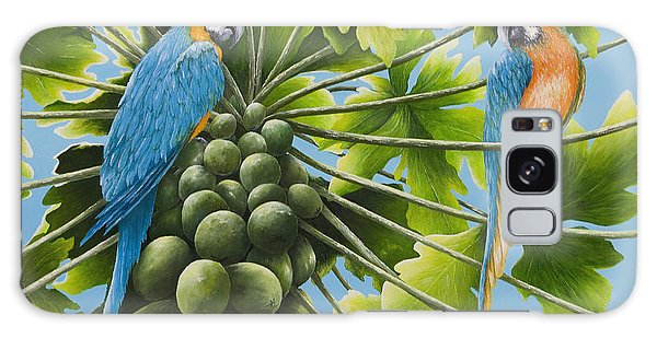 Macaw Parrots In Papaya Tree Galaxy Case