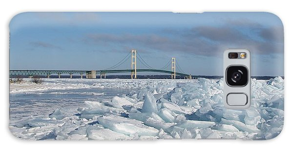 Mackinac Bridge With Ice Windrow Galaxy Case