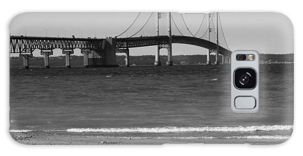 Mackinaw Bridge Black And White Galaxy Case by Bill Woodstock