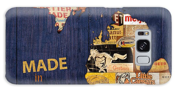 Made Galaxy Case - Made In Michigan Products Vintage Map On Wood by Design Turnpike