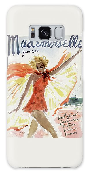 Rolling Stone Magazine Galaxy Case - Mademoiselle Cover Featuring A Model At The Beach by Helen Jameson Hall